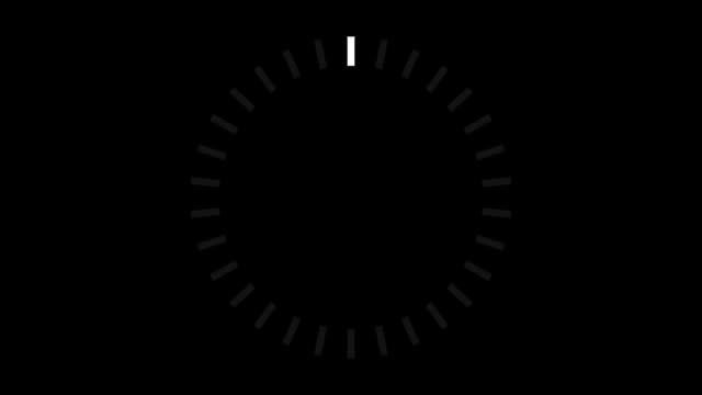 HUD element digital - pending loading screen - loop with loopable segments - circular white on black video