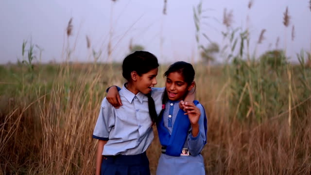 Elementary age schoolgirl portrait outdoor Elementary age schoolchildren's meeting outdoor in the nature during sunset. indian family stock videos & royalty-free footage