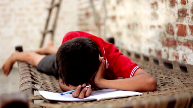 Elementary age student studying at home video