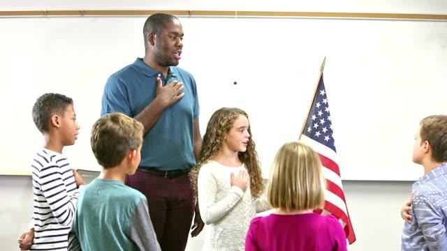 Elementary school class reciting pledge of allegiance video