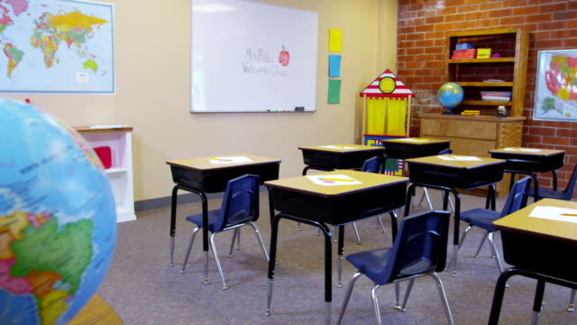 Elementary school classroom, no people video
