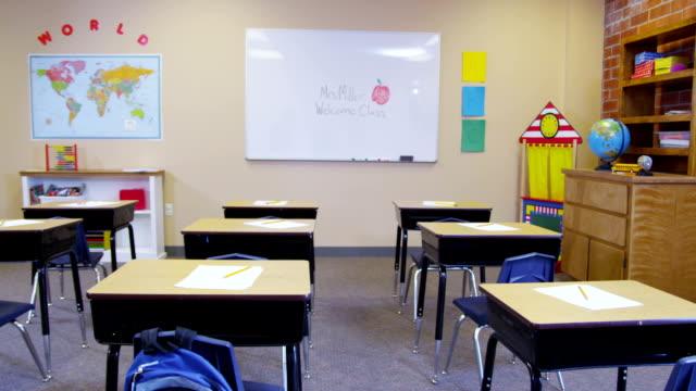 Elementary school classroom, no people video