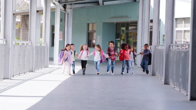 Video Elementary school kids run holding hands in school corridor