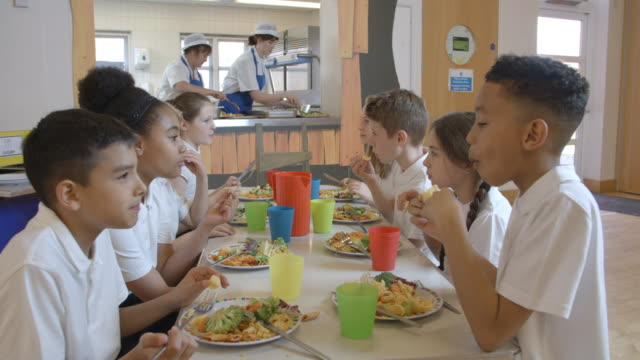 elementary school pupils having lunch in canteen shot on r3d - stołówka filmów i materiałów b-roll