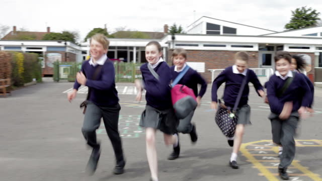 Elementary School Pupils Running Towards Camera video