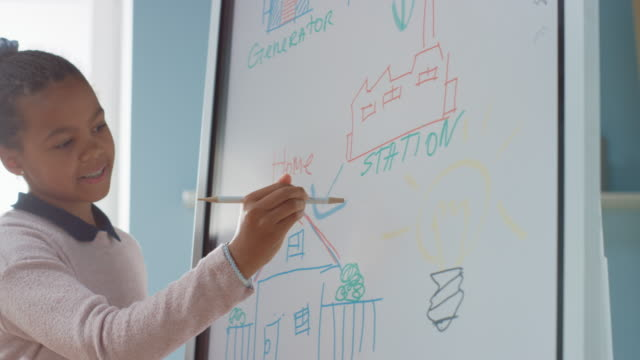 Elementary School Science Class: Portrait of Cute Girl Uses Interactive Digital Whiteboard to Show to a Full Classroom how Renewable Energy Works. Science Class, Curious Kids Listening. Slow Motion video