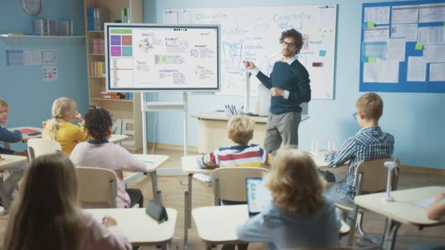 nauczyciel nauki w szkole podstawowej używa interaktywnej tablicy cyfrowej, aby pokazać klasę pełną dzieci, jak działa programowanie oprogramowania dla robotyki. klasa naukowa, ciekawskie dzieci słuchające uważnie - instruktor filmów i materiałów b-roll
