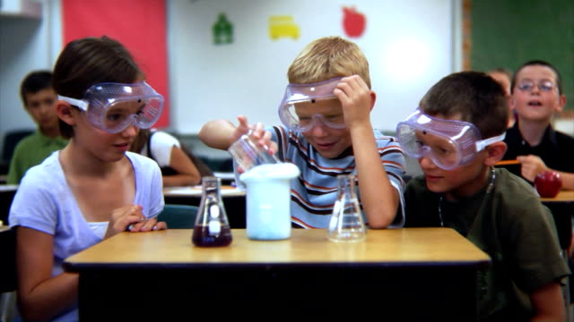 Elementary school students doing a science experiment video