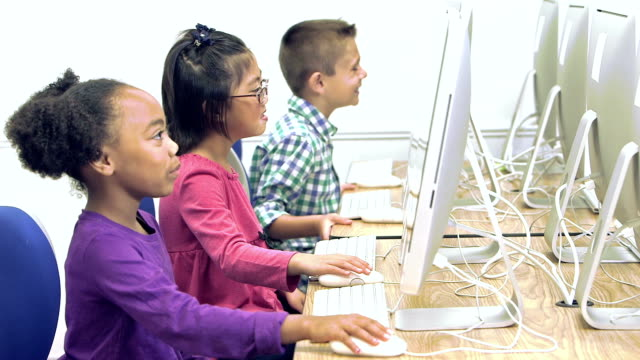 Elementary school students using  computers video