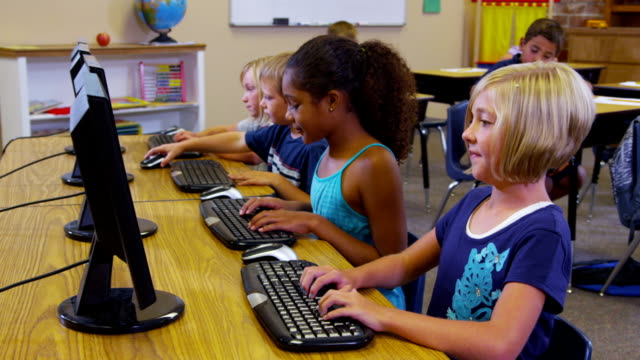 Elementary school students work with computers video
