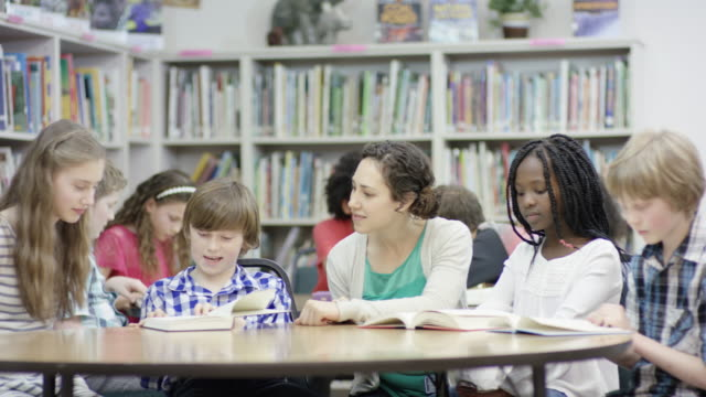 Elementary students working with teacher in library video