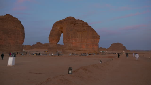 Elephant rock outcrop geological formation during Winter at Tantora Festival in Al Ula, Saudi Arabia