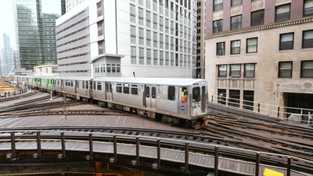 Erhöhten U-Bahn in Chicago Loop, dem Finanzviertel – Video
