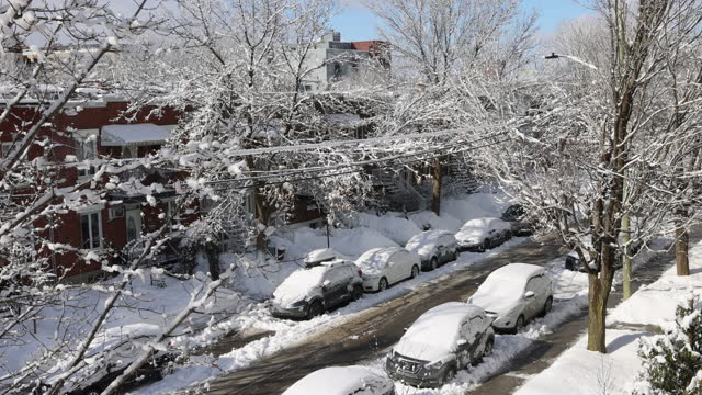 Elevated view of Montreal Rosemont area residential street after a snow storm