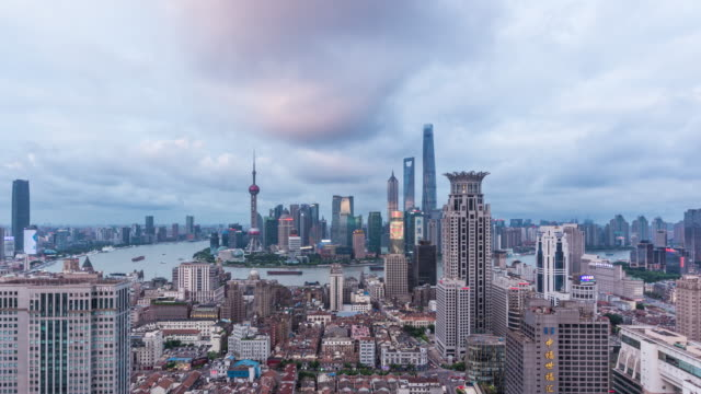 T/L WS HA Elevated View of Shanghai Bund and Lujiazui from dusk to Night video