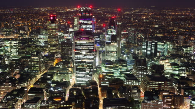 Elevated view of the financial district of London at night video
