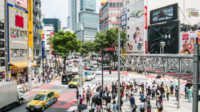 Elevated view of traffic in the streets of Tokyo video