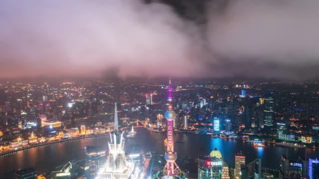 T/L WS ZO elevatet view of Shanghai city with dramatic cloudy sky video