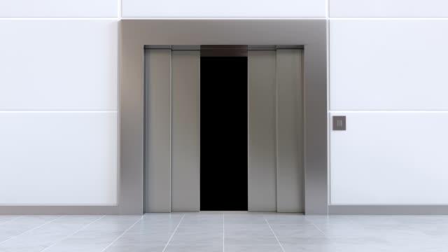 Elevator door opens while camera flies through it. video