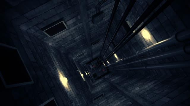 elevator shaft lift shaft bunker vault safe nuclear machinery 4k - ascensore video stock e b–roll