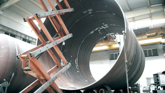 elevator with big tube - autoclave video stock e b–roll