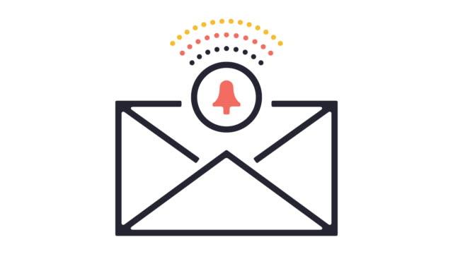 vídeos de stock e filmes b-roll de email alert line icon animation - prontidão