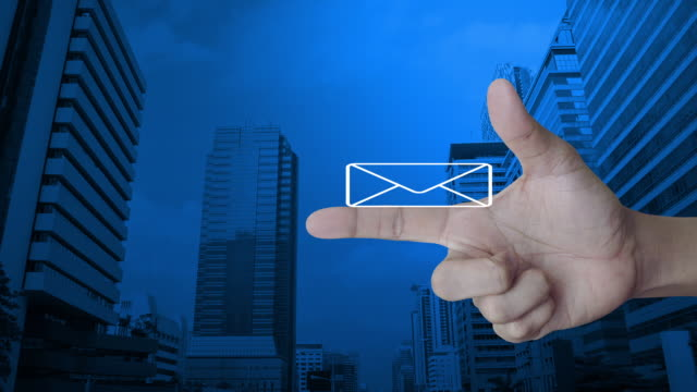 email flat icon, business contact us concept - e mail filmów i materiałów b-roll