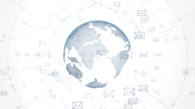 Email flying around the World. video