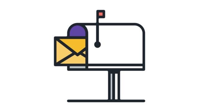 e-post hosting service line ikonen animation med alpha - skicka datormeddelande bildbanksvideor och videomaterial från bakom kulisserna
