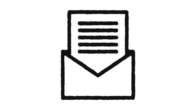 vídeos de stock e filmes b-roll de email icon animation footage & alpha channel - carta documento