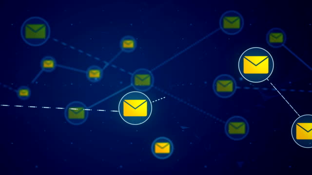 Email Message Network Icon Link Connection Technology Loop Animation 4K