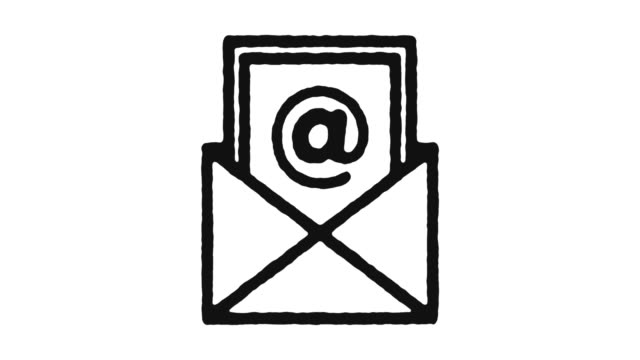 Email Newsletter Icon Animation Footage & Alpha Channel Email newsletter outline icon animation footage/video. Hand drawn like symbol animated with motion graphic, can be used as loop item, has alpha channel and it's at 4K video resolution. email icon stock videos & royalty-free footage