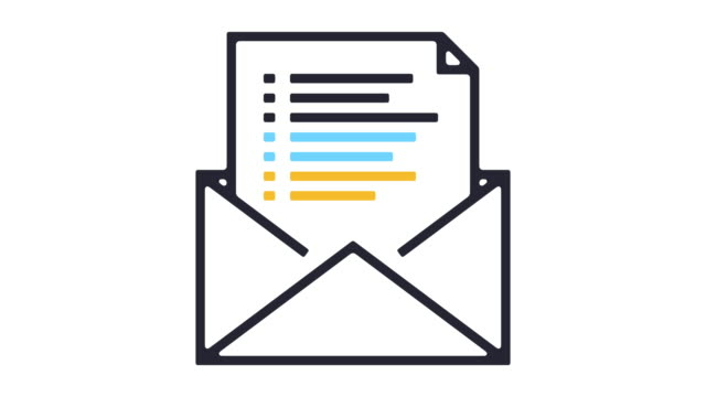 Email Newsletter Line Icon Animation Thin line animation of newsletter report. email icon stock videos & royalty-free footage