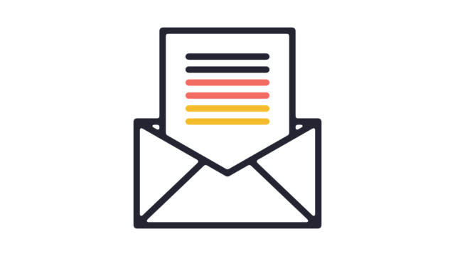 email newsletter line icon animation with alpha - newsletter video stock e b–roll