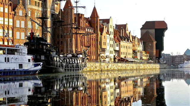 Embankment of Hanseatic port city Gdansk in Poland video