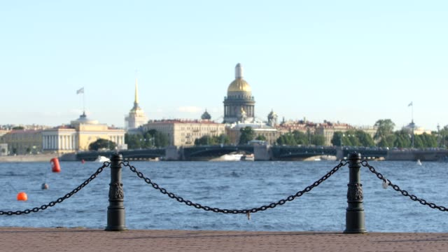 Embankment of the Neva river on the Admiralty and Isaac's Cathedral background - St. Petersburg, Russia video