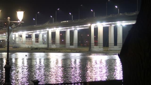 embankment rostov on don at night. view on don - balaustrata video stock e b–roll