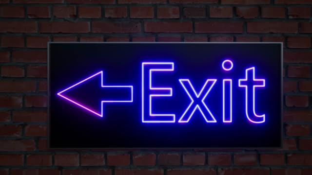 Emergency exit light neon. Hotel icon. Escape sign. Emergency case. Indoor interior. 4k