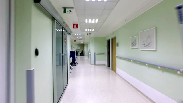 emergency fast move pov in corridor of the hospital - hospital stock videos & royalty-free footage