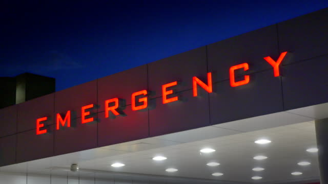 Emergency Hospital Sign, Red Sign, Ambulance Medical Care Room Entrance Emergency Hospital Sign, Red Sign, Ambulance Medical Care Room Entrance medical building stock videos & royalty-free footage