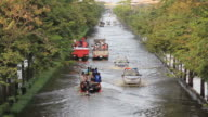 istock Emergency truck lead the patient to the hospital on flood situation. 462841784
