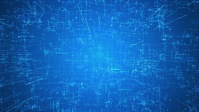 Emerging connections, conductors and neural signals over blue background. Digital connectivity, artificial intelligence and data storage concept video