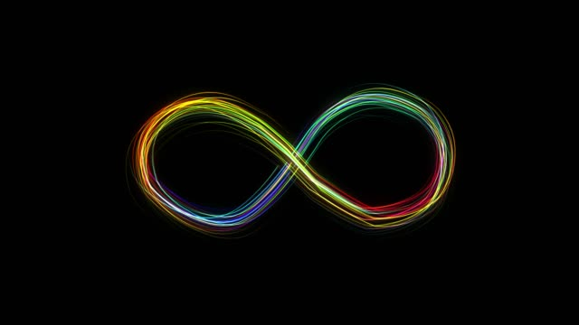 Emerging glowing rainbow color infinity sign on black background from many lines.