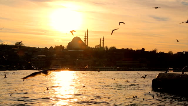vídeos de stock e filmes b-roll de eminönü ferry at sunset - istambul