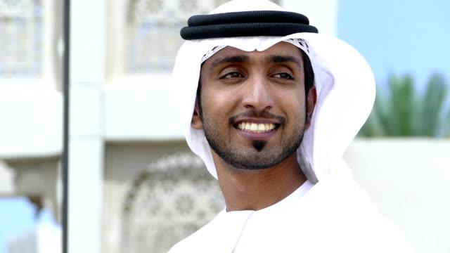emirati businessman outdoors - oman video stock e b–roll