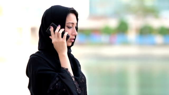 Emirati businesswoman on the phone video