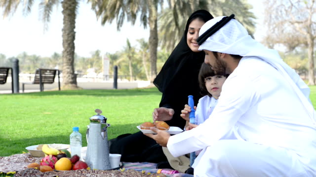 PANNING: Emirati family having a picnic video