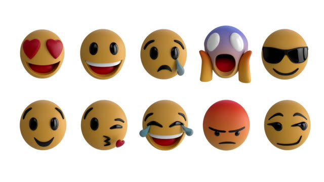Emoji icons 4k Animation of eight emoji icons on a white background 4k facial expression stock videos & royalty-free footage
