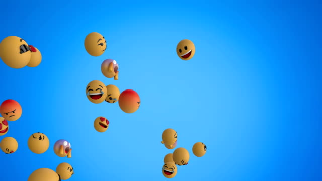 Emoji icons flying on blue background 4k Animation of a group of emoji icons flying from left to right on a blue background 4k animation moving image stock videos & royalty-free footage