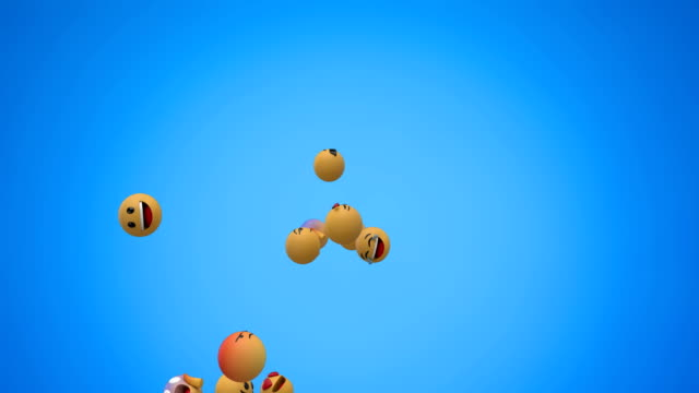 Emoji icons flying on blue background 4k